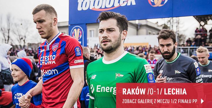 Galeria z meczu 1/4 finału Pucharu Polski Raków Częstochowa - Lechia Gdańsk w kwietniu 2019 r.